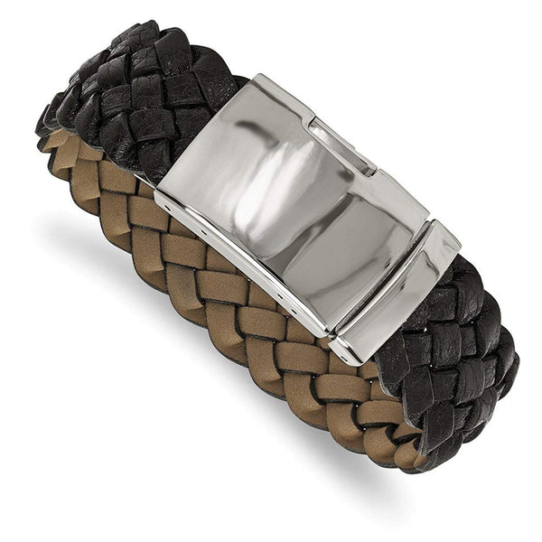 Men's Polished Stainless Steel Black Leather Buckle Bracelet, 9""
