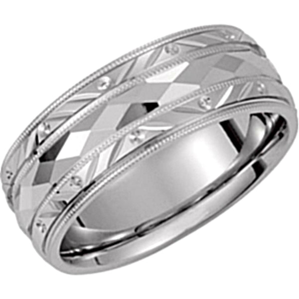 14k White Gold Diamond-Cut Design 6mm Comfort-Fit Milgrain Band , Size 12