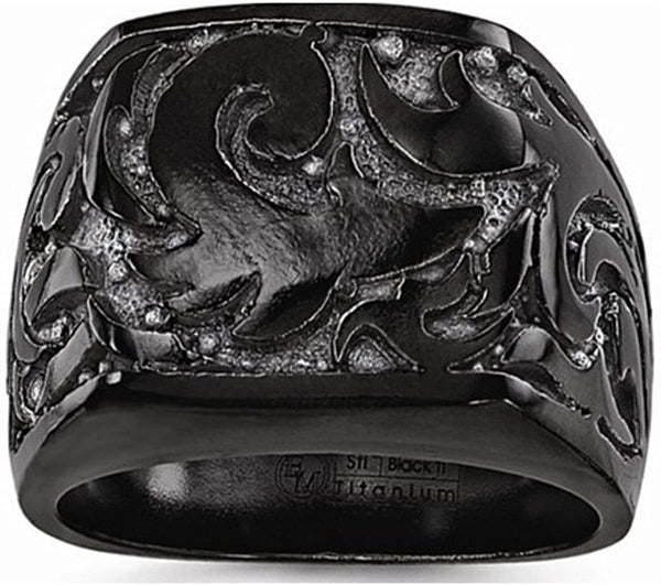 Edward Mirell Black Titanium Casted Design 17mm Signet Ring