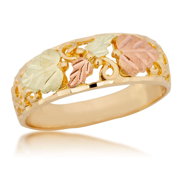 Women's Diamond-Cut Wedding Band, 10k Yellow Gold, 12k Green and Rose Gold Black Hills Gold Motif