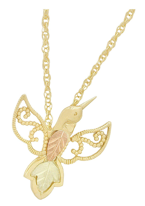 Filigree Hummingbird Pendant Necklace, 10k Yellow Gold, 12k Green Gold, 12k Rose Gold Black Hills Gold, 18""