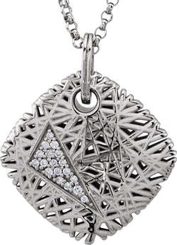 "Diamond Nest Design 14k White Gold Pendant Necklace, 18"" (.08 Cttw)"