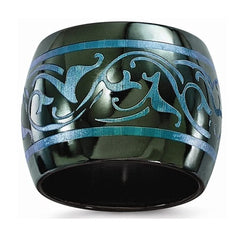 Rain Collection Black Ti Anodized Teal 16mm Domed Band