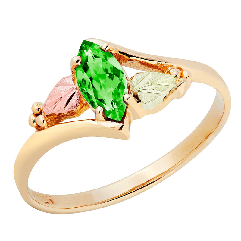 Created Emerald Marquise Ring, 10k Yellow Gold, 12k Green and Rose Gold Black Hills Gold Motif