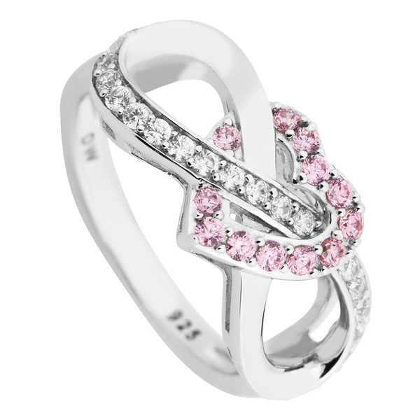 Pink and White CZ Infinity Heart Rhodium Plated Sterling Silver Ring
