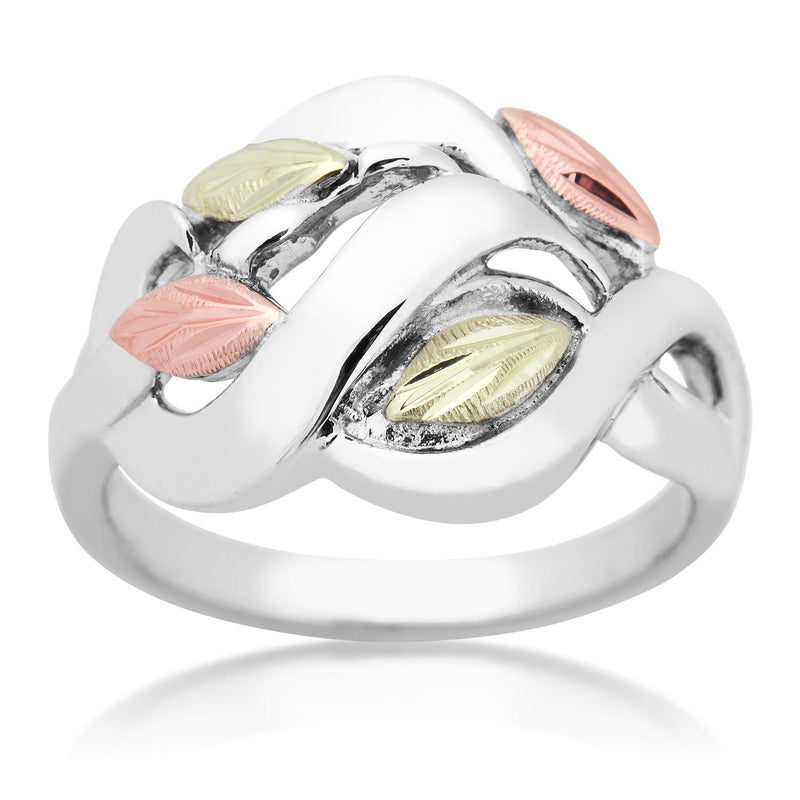 Petite Frosty Leaves Ring, Sterling Silver, 12k Green and Rose Gold Black Hills Gold Motif