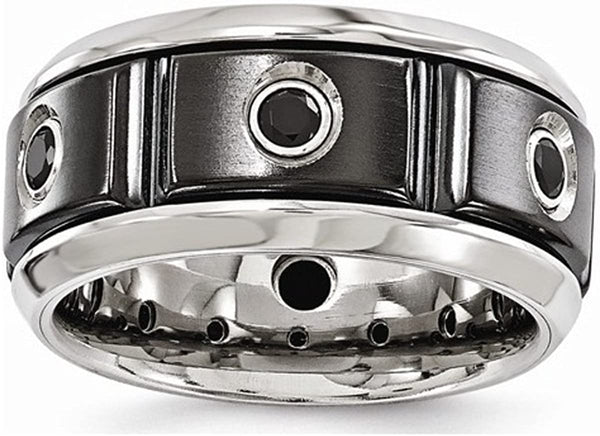 Edward Mirell Black Titanium Stainless Steel with Sterling Silver Bezel Black Spinel 11mm Band, Size 13