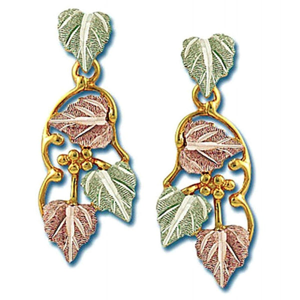 Precious Grape Leaf Drop Earrings, 10k Yellow Gold, 12k Green and Rose Gold Black Hills Gold Motif