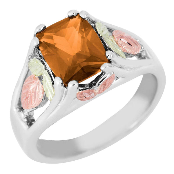 November Birthstone Created Gold Topaz Ring, Sterling Silver, 12k Green and Rose Gold Black Hills Silver Motif