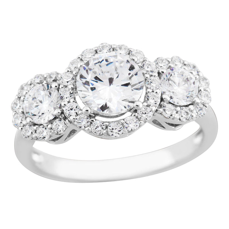 The Men's Jewelry Store (for HER) Past, Present and Future Halo CZ Rhodium Plated Sterling Silver Ring
