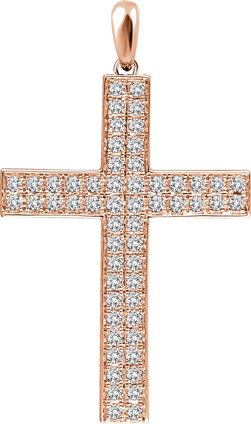Diamond Western Cross Pendant, 14k Rose Gold (.75 Ctw, H+ Color, I1 Clarity)
