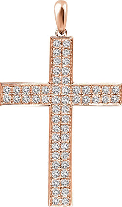 Diamond Western Cross Pendant, Rhodium-Plated 14k Rose Gold (.5 Ctw, H+ Color, I1 Clarity)