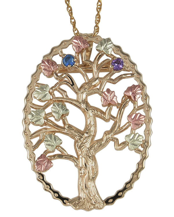 Sapphire and Amethyst Tree Pendant Necklace, 10k Yellow Gold, 12k Green and Rose Gold Black Hills Gold Motif, 18""