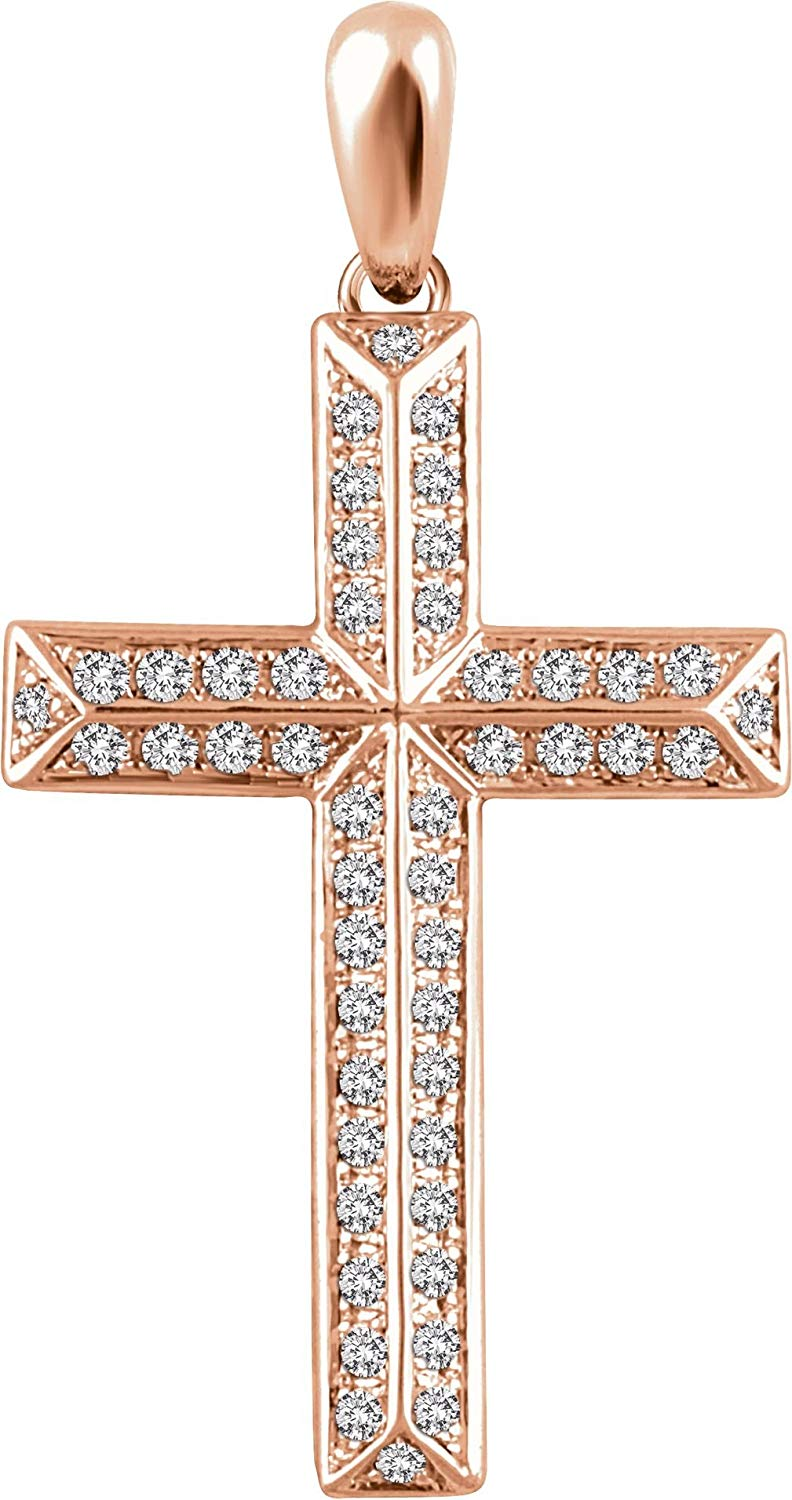 Diamond Angled Cross 14k Rose Gold Pendant (.5 Ctw, H+ Color, I1 Clarity)