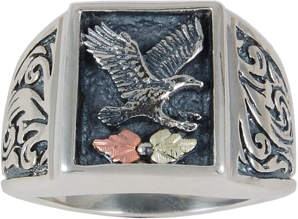 Men's Eagle Antiqued Ring, Sterling Silver, 12k Green and Rose Gold Black Hills Gold Motif, Size 11.5