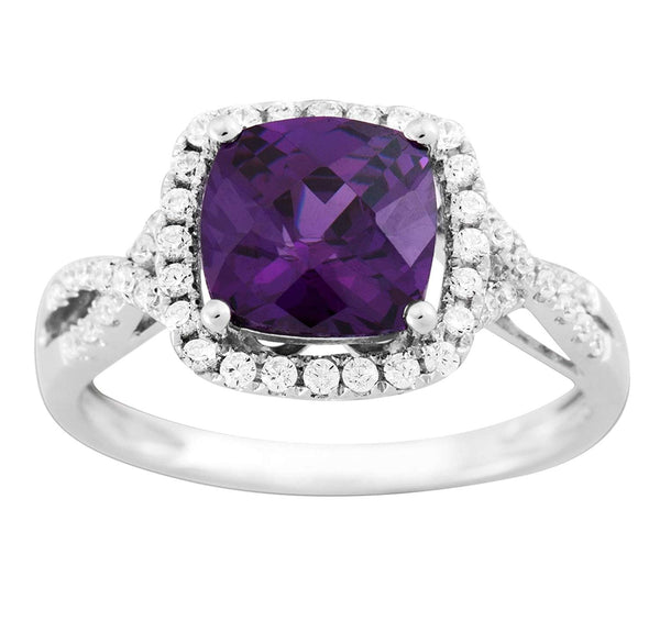 Cushion-Cut Purple CZ Halo Soft Square Rhodium-Plated Sterling Silver Ring