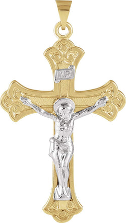 Two-Tone Fleur-de-Lis Crucifix 14k Yellow and White Gold Pendant (45X31MM)