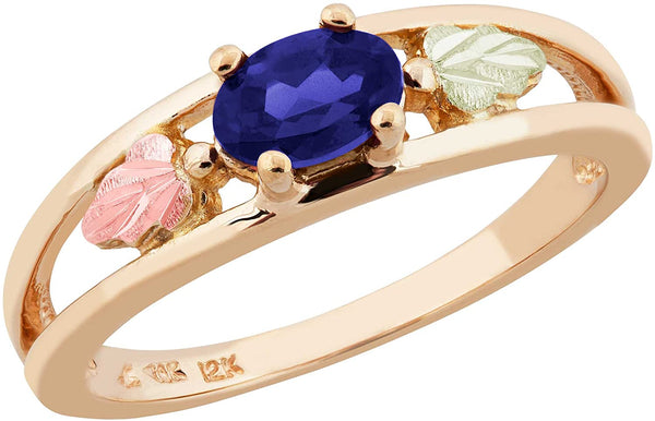 Oval Created Blue Sapphire Ring, 10k Yellow Gold, 12k Green and Rose Gold Black Hills Gold Motif, Size 8.25