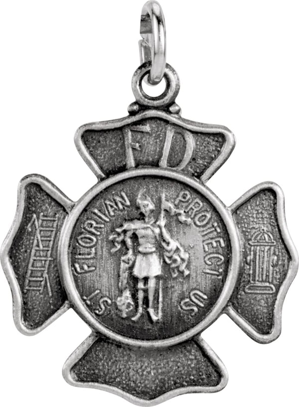 Sterling Silver St. Florian Medal 16.75MM
