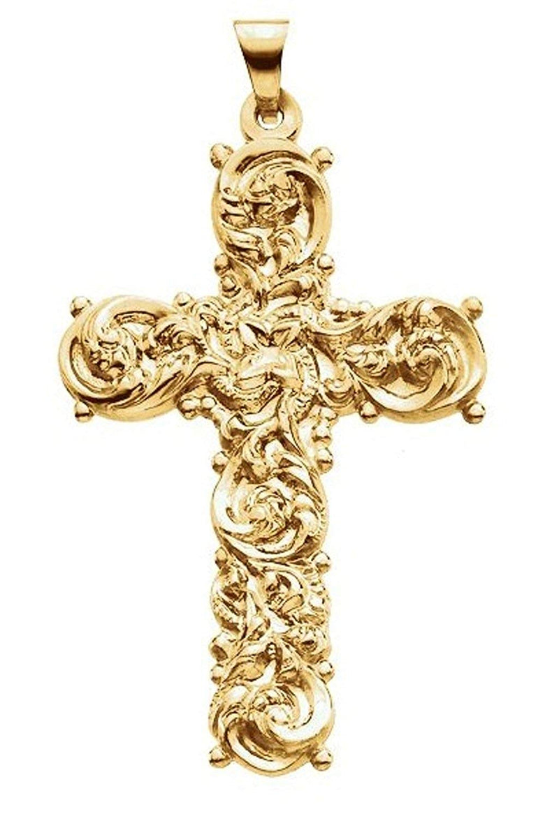Filligree Cross 14k Yellow Gold Pendant (39.00X26.50 MM)