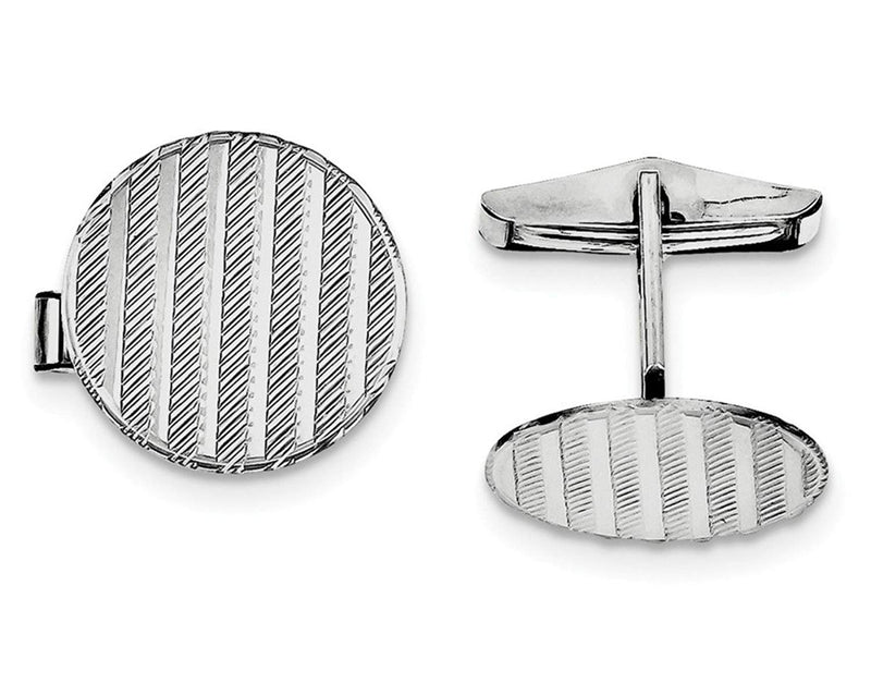 Rhodium-Plated Sterling Silver Round Cuff Links, 20X8MM