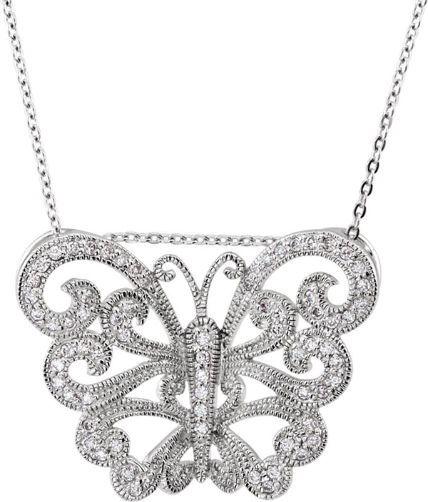 Vintage-Style Butterfly CZ Necklace Rhodium-Plate Sterling Silver Necklace, 18""
