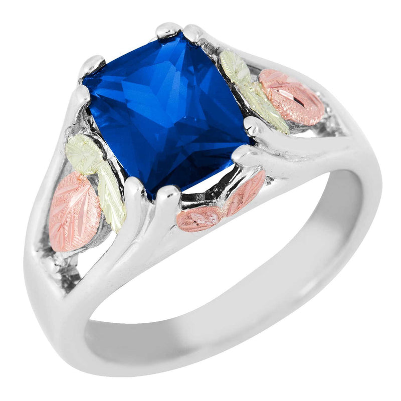 September Birthstone Created Blue Spinel Ring, Sterling Silver, 12k Green and Rose Gold Black Hills Silver Motif