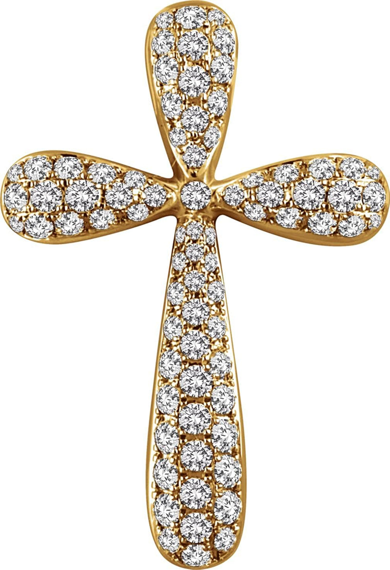 Diamond Petal Cross Pendant, Rhodium-Plated 14k Yellow Gold (1 Ctw, H+ Color, I1 Clarity)