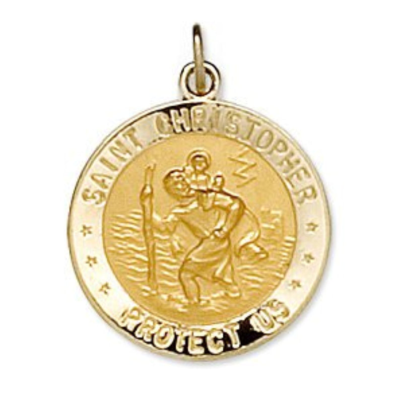 14k Yellow Gold Round St. Christopher Medal U.S. Navy Medal (18 MM)