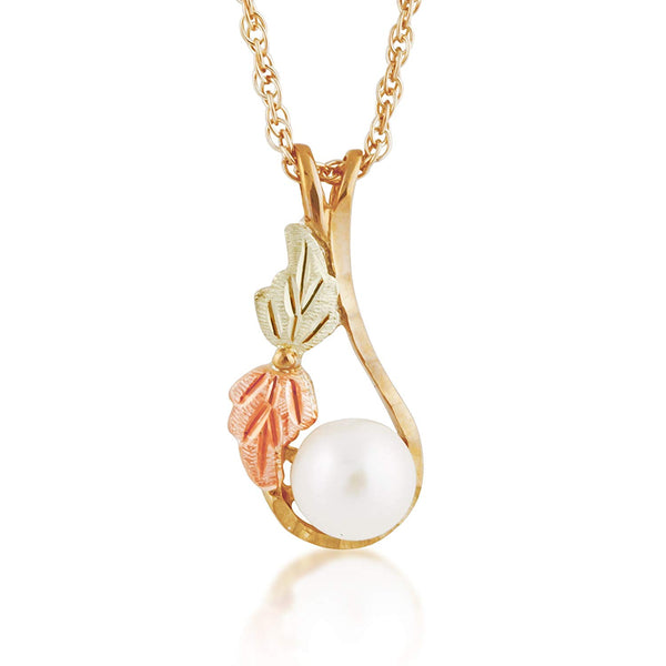 "White Fresh Water Pearl and Leaves Pendant Necklace, 10k Yellow Gold, 12k Green and Rose Gold Black Hills Gold Motif, 18"" (6-6.5 MM)"