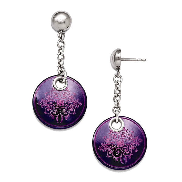 Rain Collection Black Ti, Sterling Silver Anodized Pink and Purple Dangle Earrings