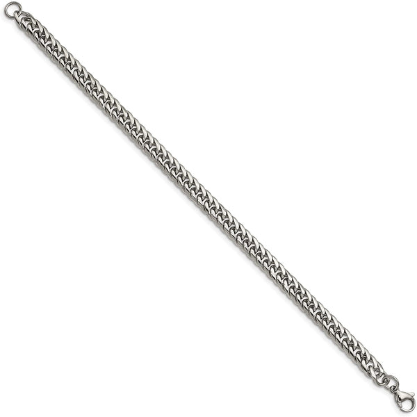 Men's Stainless Steel Double Curb Chain Bracelet, 9 Inches