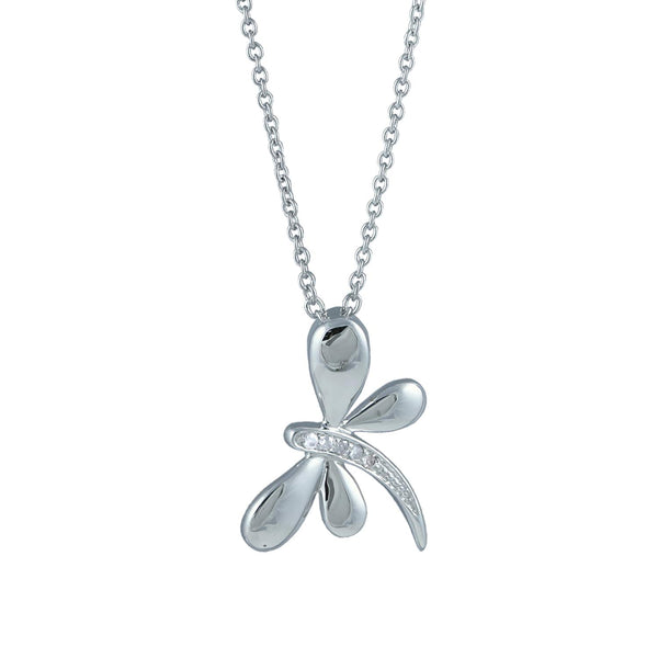 "Diamond Dragonfly Pendant Necklace, Rhodium Plated Sterling Silver, 18"" (.025 Ctw)"