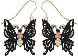 Black Butterfly Earrings, 12k Rose and Green Gold Black Hills Gold Motif