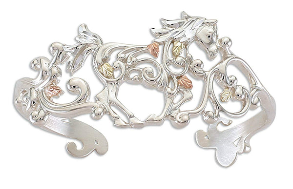 Scrollwork Horse Cuff Bracelet, Sterling Silver, 12k Green and Rose Gold Black Hills Gold Motif, 6.75""