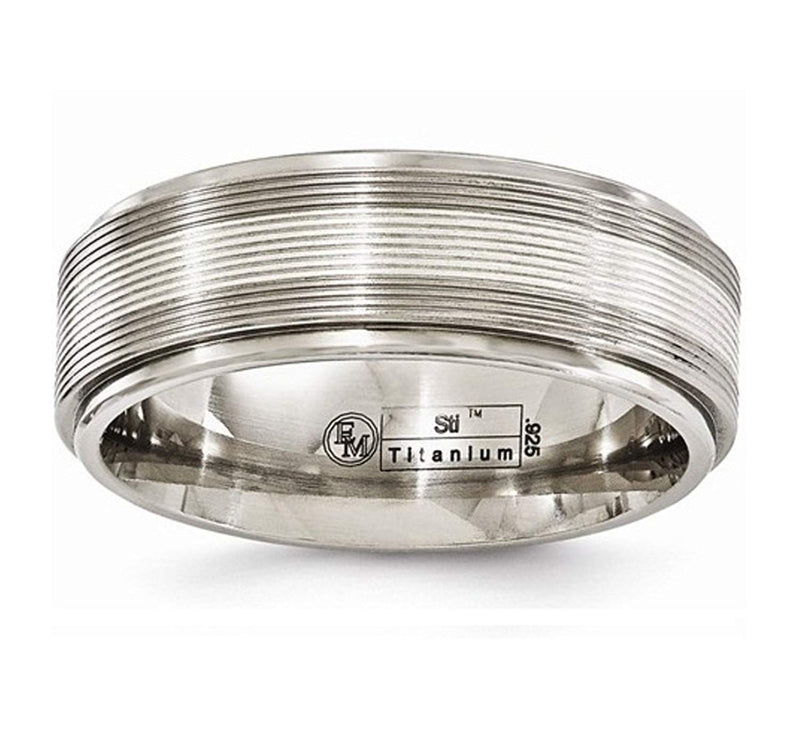Traction Band Collection Gray Titanium with Argentium Sterling Silver Inlay Grooved 7.5mm Band