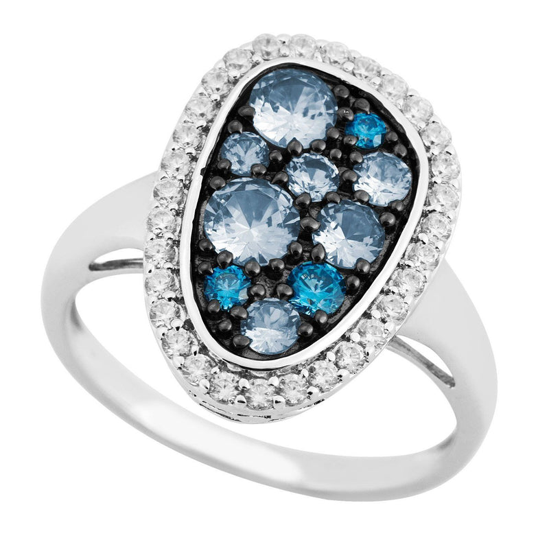 Blue Spinel, CZ Halo Rhodium Plated Sterling Silver Ring,
