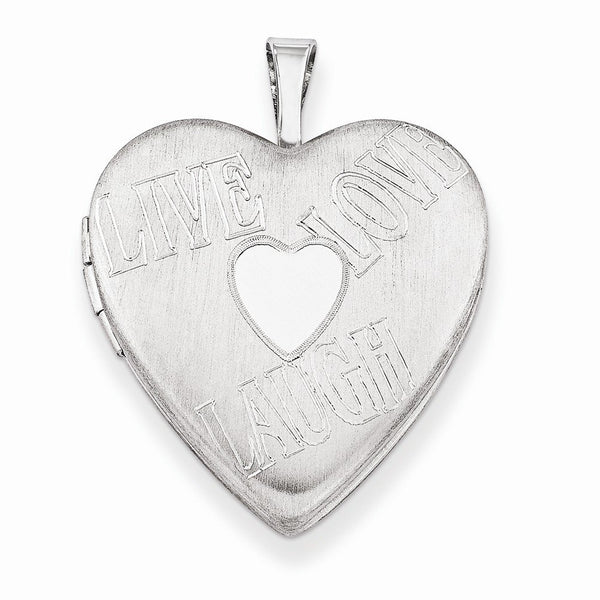 Sterling Silver 'Live, Love, Laugh' Heart Locket Necklace, 18""