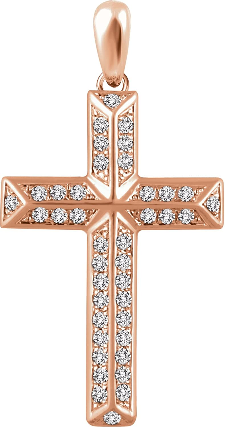 Diamond Angled Cross 14k Rose Gold Pendant (.33 Ctw, H+ Color, I1 Clarity)