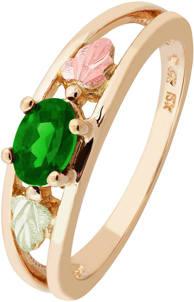 Oval Created Emerald Ring, 10k Yellow Gold, 12k Green and Rose Gold Black Hills Gold Motif, Size 6.5