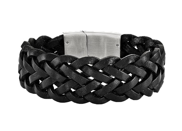 Men's Satin Back Stainless Steel Black Leather Bracelet, 8.25""