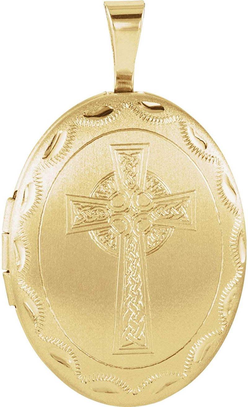 Oval Celtic Halo Cross 14k Yellow Gold Plated Sterling Silver Locket Pendant (26.00X20.00 MM)