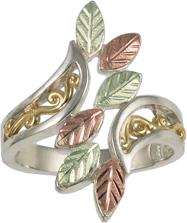 Fancy Bypass Scrollwork Ring, 10k Yellow Gold, Sterling Silver, 12k Green and Rose Gold Black Hills Gold Motif, Size 9.5