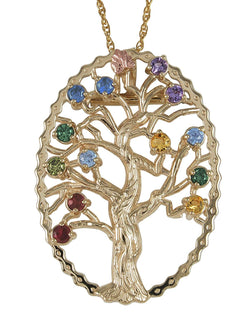 Multi Gemstone Tree Pendant Necklace, 10k Yellow Gold, 12k Green and Rose Gold Black Hills Gold Motif, 18""