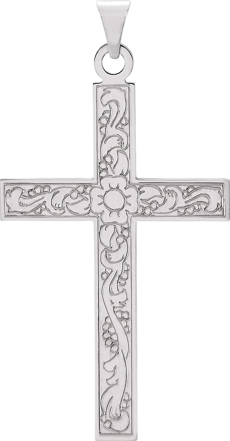 Floral True Cross Rhodium-Plated 14k White Gold Pendant (49x25 MM)