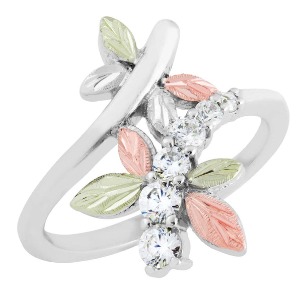 6-Stone CZ Dragonfly Ring, Sterling Silver, 12k Green and Rose Gold Black Hills Gold Motif