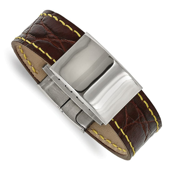 Men's Polished Stainless Steel Brown Leather with Yellow Stitch ID Bracelet, 8.5 ""