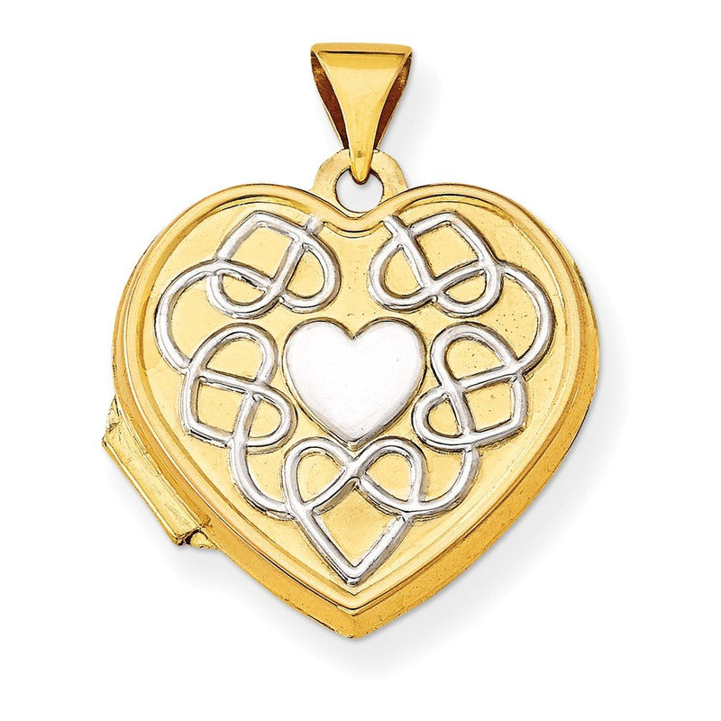 Rhodium Plate 14k Yellow Gold Filligree Heart Reversible Locket Necklace, 20""
