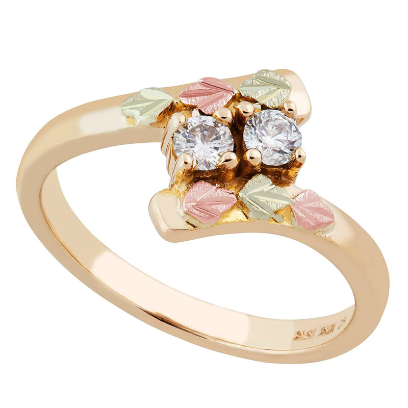 Diamond Slim Profile Bypass Ring, 10k Yellow Gold, 12k Green and Rose Gold Black Hills Gold Motif (.2 Ctw)
