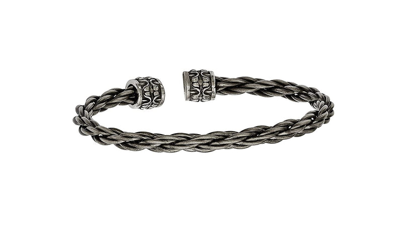 Men's Thorn Collection Gray Titanium Cable with Cast Cuff Bangle Bracelet, 7""
